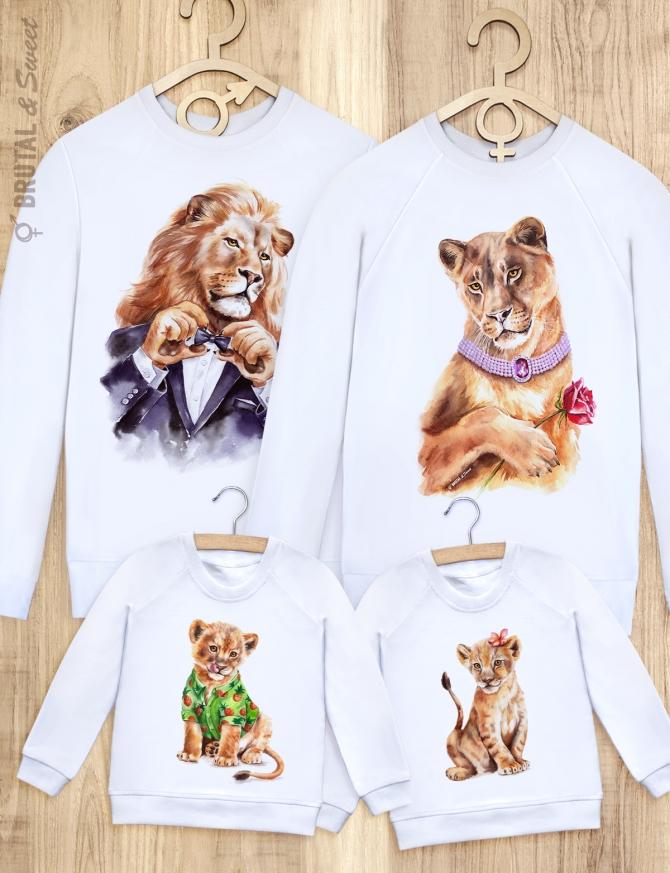 Семейные свитшоты с львами «Светские львы»