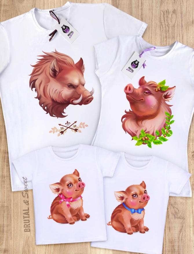 Семейные футболки с кабанами «Boar Family»