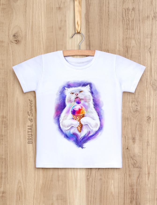 Детская футболка с котом с мороженым