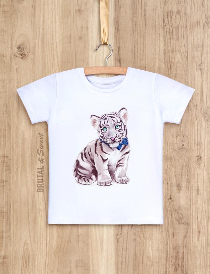 Семейные футболки с белыми тиграми «White Tiger Family»