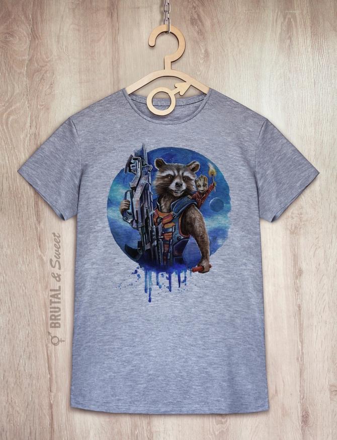 Парные футболки с енотом и Грутом