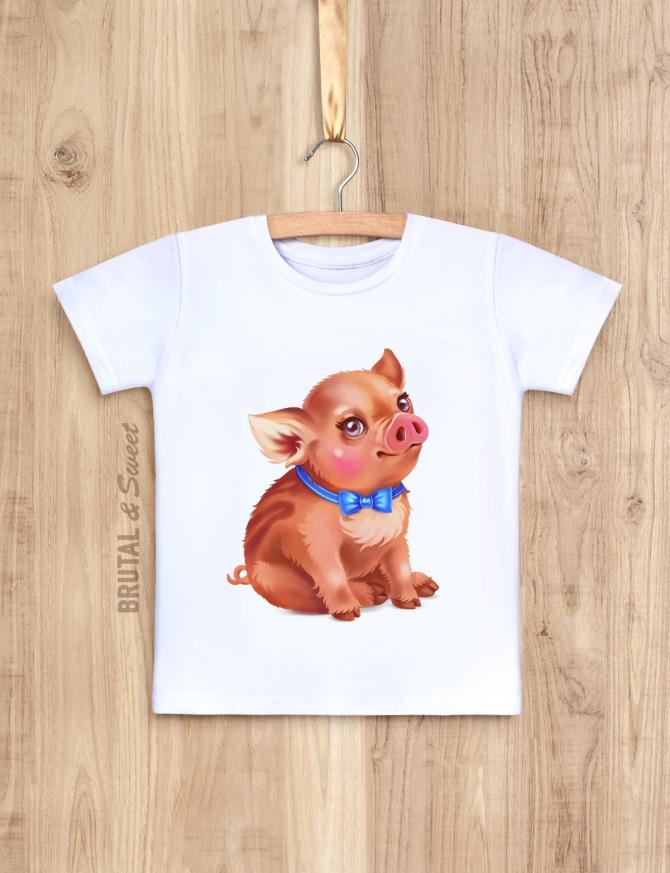 Детская футболка с кабанчиком «Little pig мальчик»