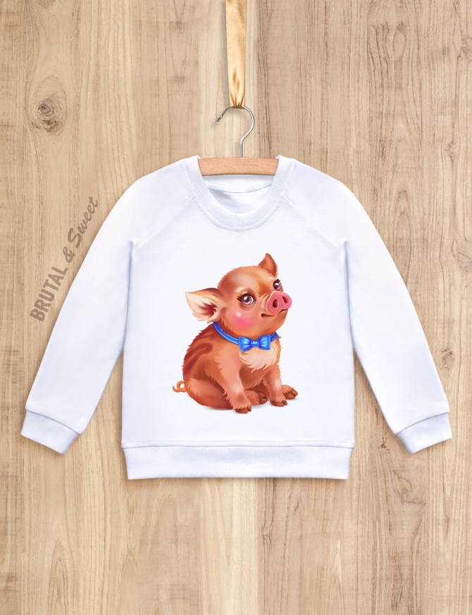 Детский свитшот с кабанчиком «Little pig мальчик»