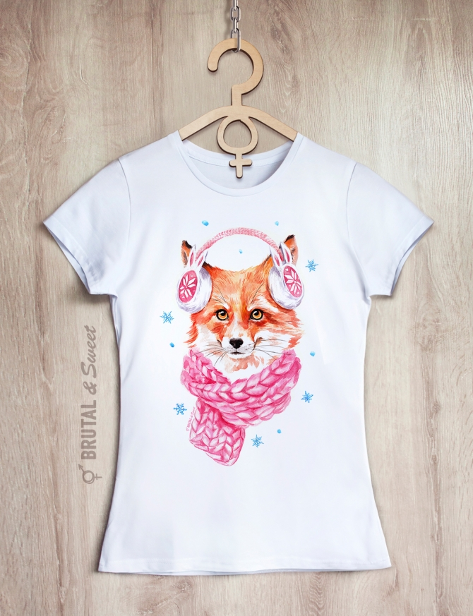 Футболка с лисой «Winter Fox»