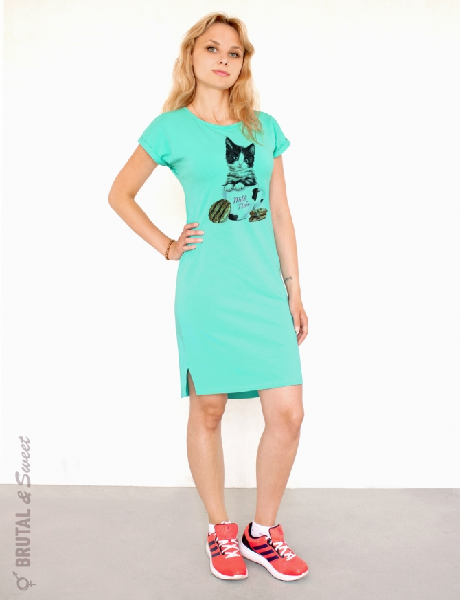 Платье мятное с котенком «Milk time»