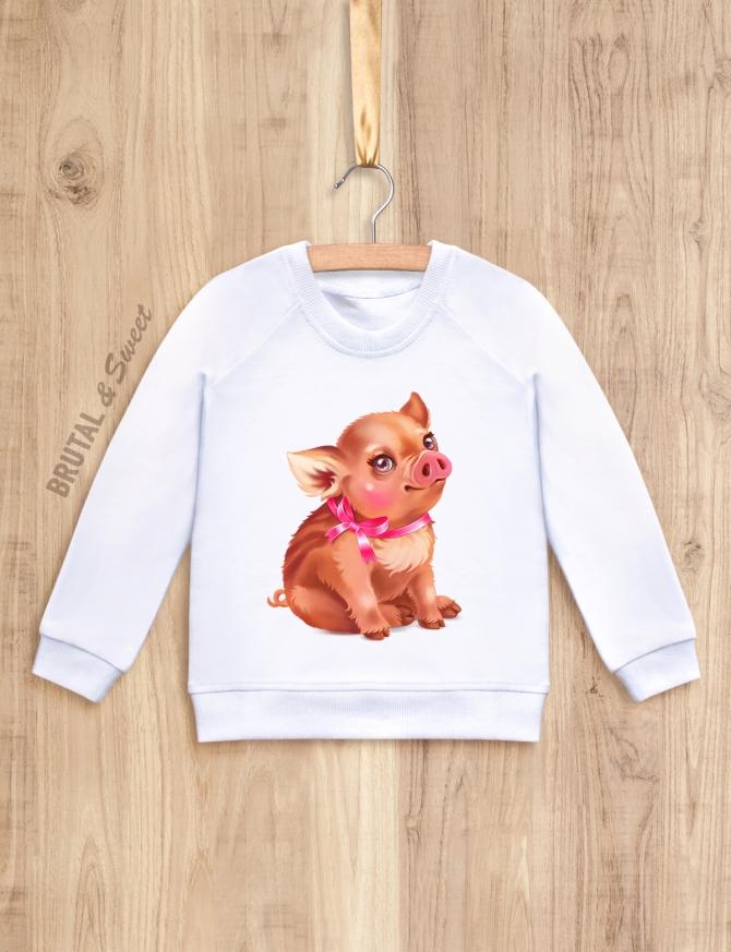 Детский свитшот с кабанчиком «Little pig девочка»