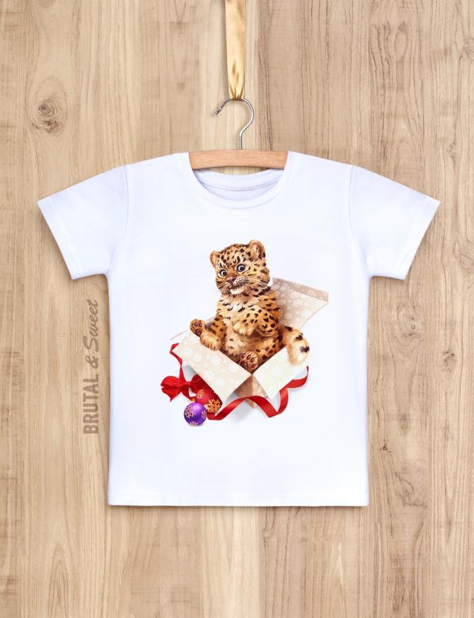 Детская футболка Новогодняя «Leopard Kid»