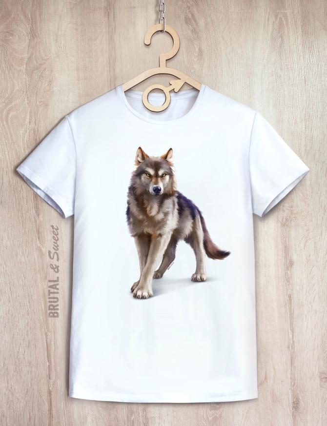 Футболка мужская с волком «Wild wolf»