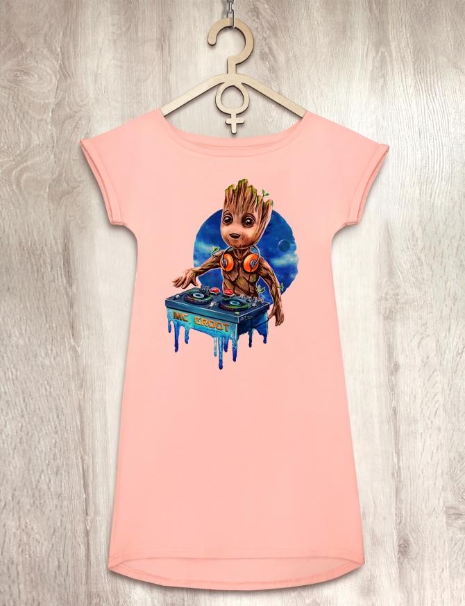 Платье персиковое с малышом Грутом «MC Groot»