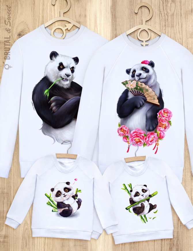 Семейные свитшоты с пандами «Panda Family»