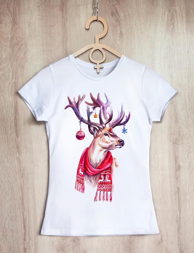 Футболка женская «Happy Deer»