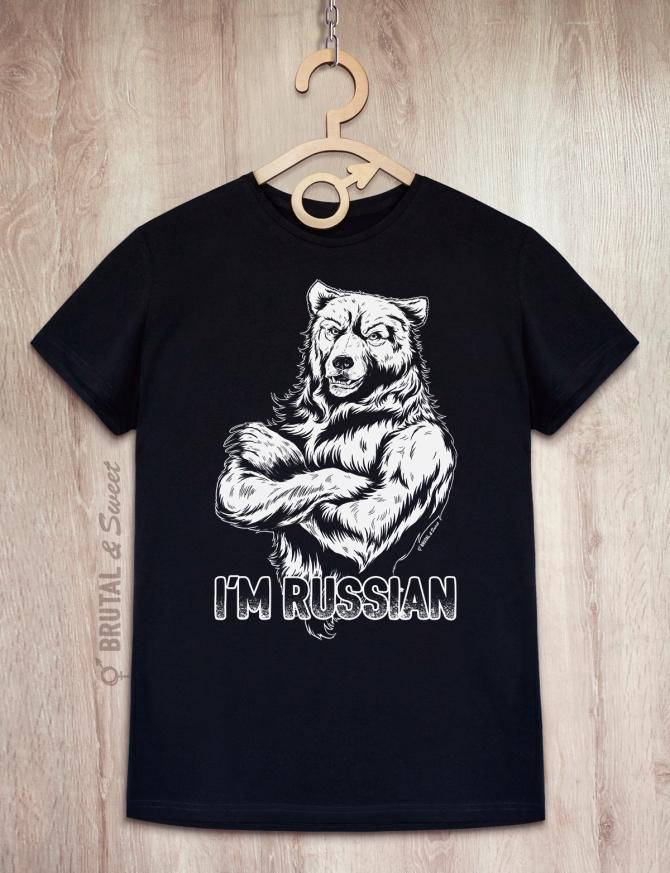 Футболка с медведем «I'm Russian» (контурный)