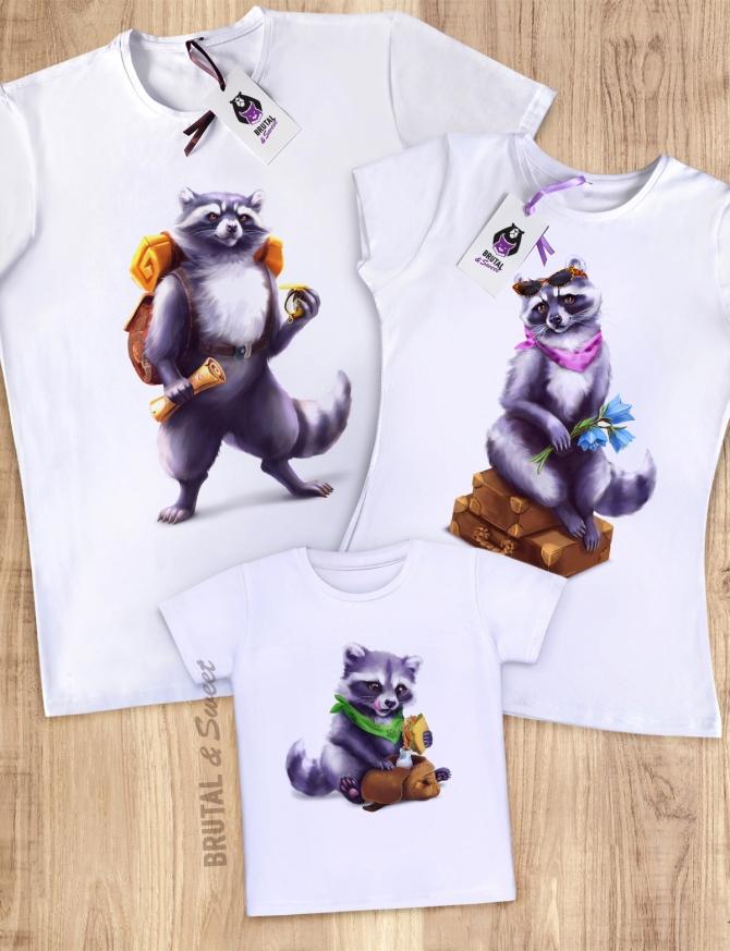 Семейные футболки с Енотами «Raccoon Family»