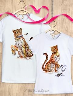 Парные футболки с леопардами