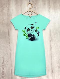 Платье мятное с пандой «Little Panda»