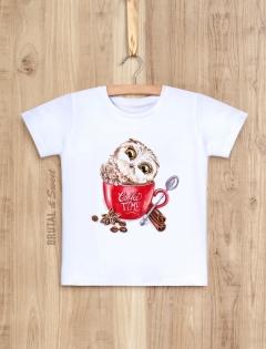 Детская футболка с совенком «Coffee time»
