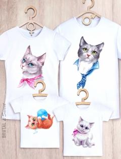 Семейные футболки с котиками «Cat Family»