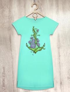 Платье мятное с якорем «Water nymph»