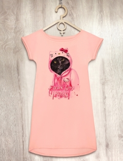 Платье персиковое «F**k you Kitty»