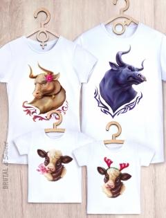 Семейные футболки с быками «Bull Family»