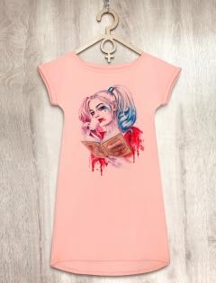 Платье персиковое с Харли Квинн «Harley»