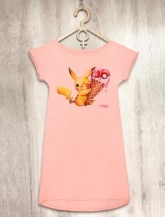 Платье персиковое с покемоном «Pokemon»