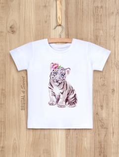 Детская футболка «Белый тигренок девочка»