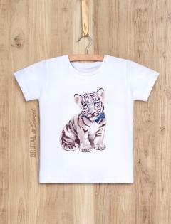 Детская футболка «Белый тигренок мальчик»