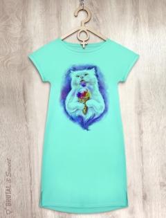 Платье мятное с мороженым «Ice cream Cat»