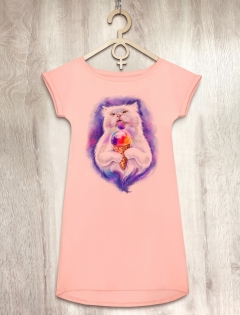 Платье персиковое с мороженым «Ice cream Cat»