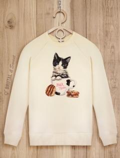 Свитшот с котенком «Milk time»