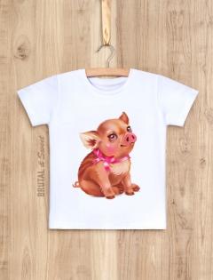 Детская футболка с кабанчиком «Little pig девочка»