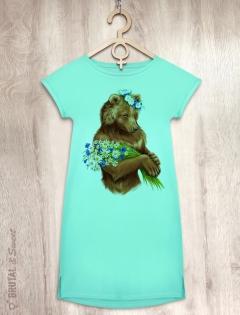 Платье мятное с медведицей «Lady bear»