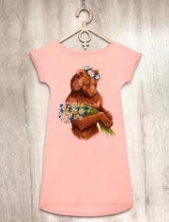 Платье персиковое с медведицей «Lady bear»