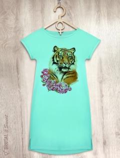 Платье мятное с тигрицей «Tiger Lady»