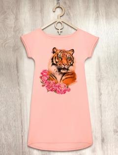 Платье персиковое с тигрицей «Tiger Lady»