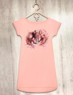Платье персиковое с волками «Wolf Love»