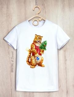 Семейные Новогодние футболки с Леопардами