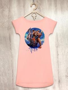 Платье персиковое с енотом «Rocket»