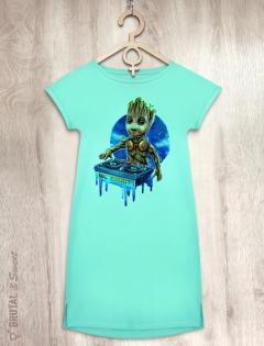 Платье мятное с малышом Грутом «MC Groot»