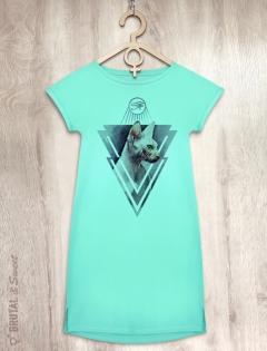 Платье мятное со Сфинксом «Sphynx cat»