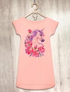 Платье персиковое с единорогом «Sweet Unicorn»