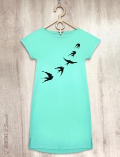 Платье мятное  «Ласточки»